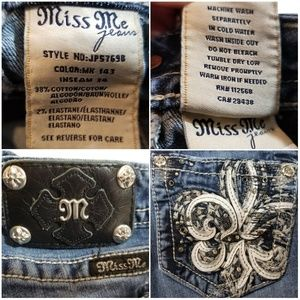 Miss Me Jeans - Miss Me Leather & Tinsel boot cut blue jeans 26